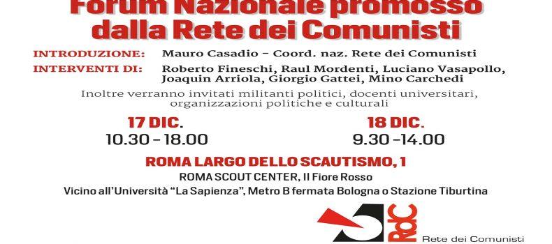 Forum Nazionale promosso dalla Rete dei Comunisti – sabato 17 e domenica 18 a Roma