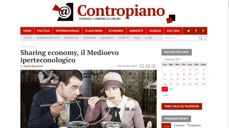 Sharing economy, il Medioevo iperteconologico – Contropiano
