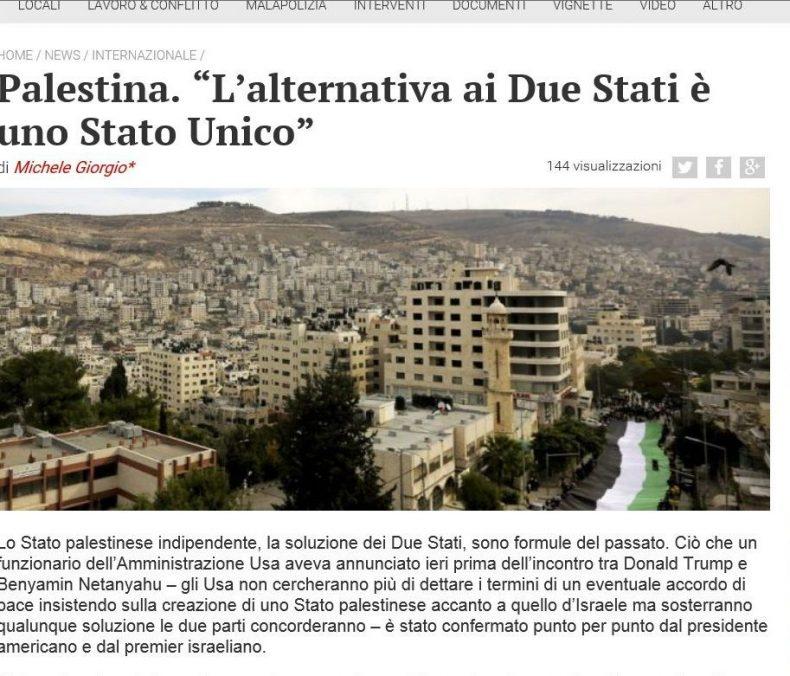 """Palestina. """"L'alternativa ai Due Stati è uno Stato Unico"""" – Contropiano"""