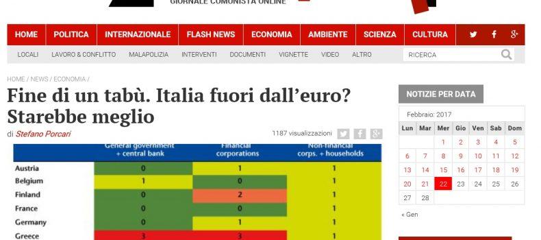 Fine di un tabù. Italia fuori dall'euro? Starebbe meglio – Contropiano