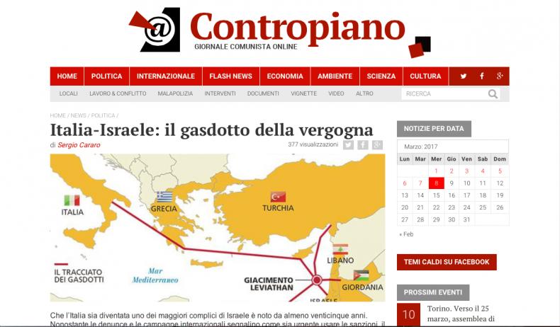 Italia-Israele: il gasdotto della vergogna – Contropiano