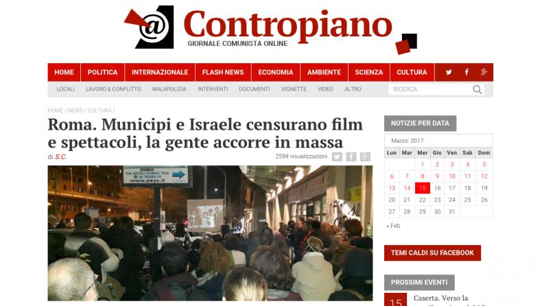 Roma. Municipi e Israele censurano film e spettacoli, la gente accorre in massa – Contropiano