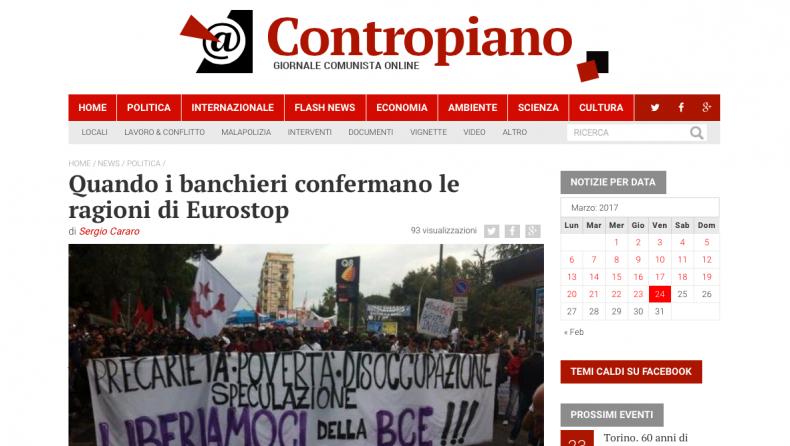 Quando i banchieri confermano le ragioni di Eurostop – Contropiano