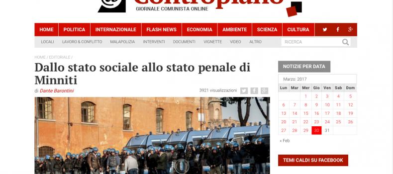 Dallo stato sociale allo stato penale di Minniti – L'editoriale di Contropiano