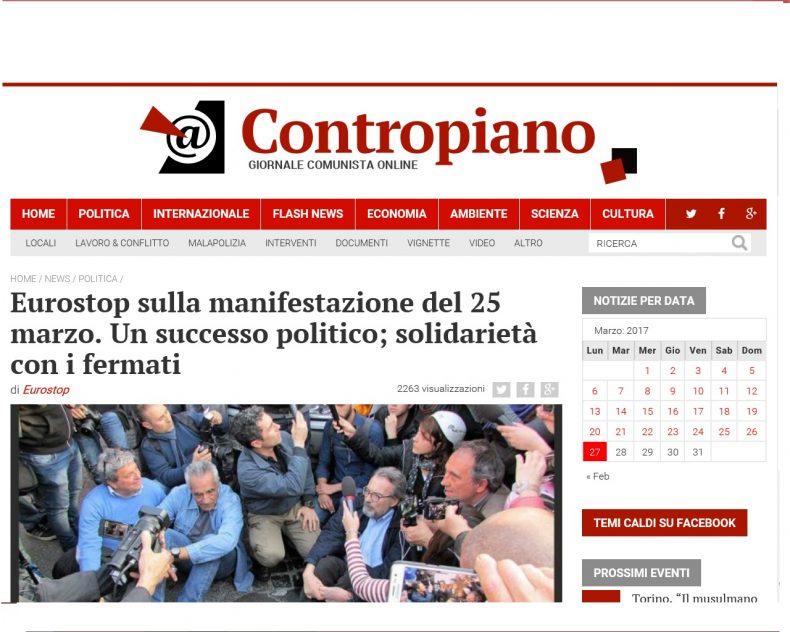 Eurostop sulla manifestazione del 25 marzo. Un successo politico; solidarietà con i fermati – Contropiano