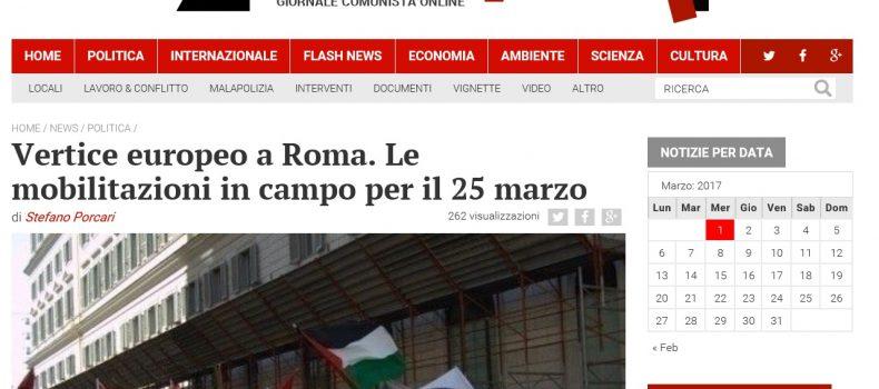 Vertice europeo a Roma. Le mobilitazioni in campo per il 25 marzo – Contropiano