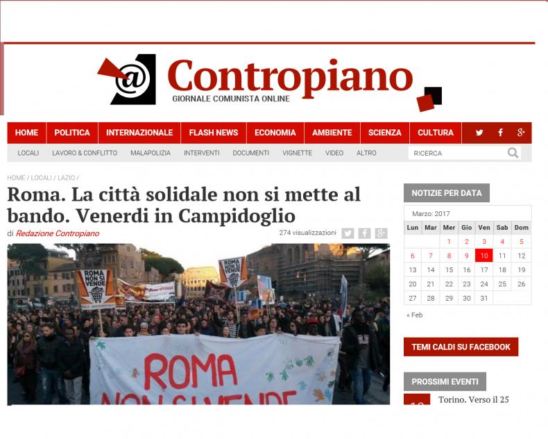 Roma. La città solidale non si mette al bando. Venerdi in Campidoglio – Contropiano