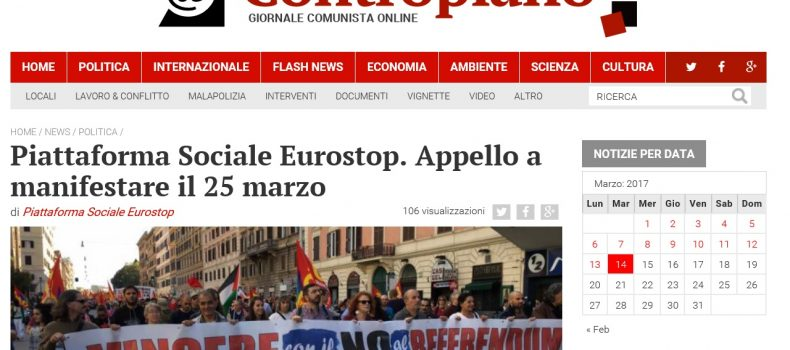 Piattaforma Sociale Eurostop. Appello a manifestare il 25 marzo – Contropiano