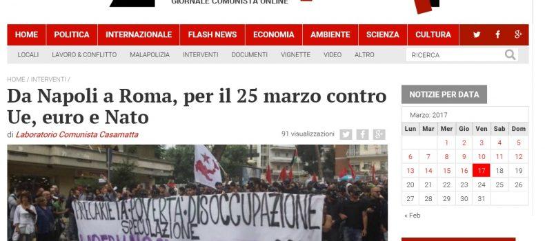 Da Napoli a Roma, per il 25 marzo contro Ue, euro e Nato – Contropiano