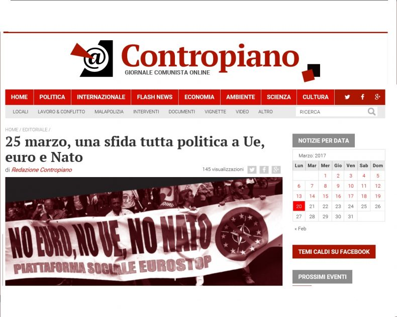 25 marzo, una sfida tutta politica a Ue, euro e Nato – L'editoriale di Contropiano