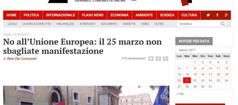 No all'Unione Europea: il 25 marzo non sbagliate manifestazione – Contropiano