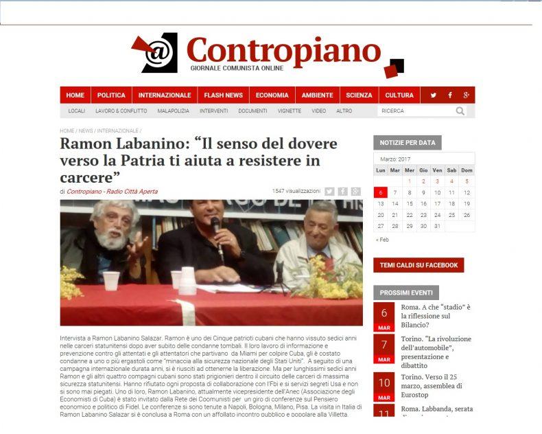 """Ramon Labanino: """"Il senso del dovere verso la Patria ti aiuta a resistere in carcere"""" – Contropiano"""