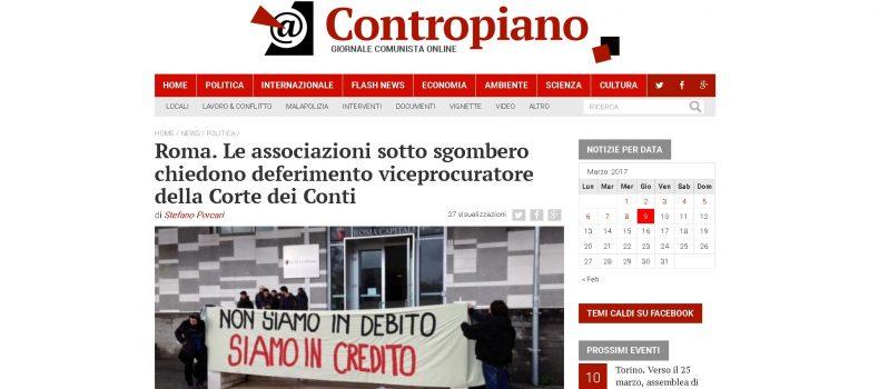 Roma. Le associazioni sotto sgombero chiedono deferimento viceprocuratore della Corte dei Conti – Contropiano