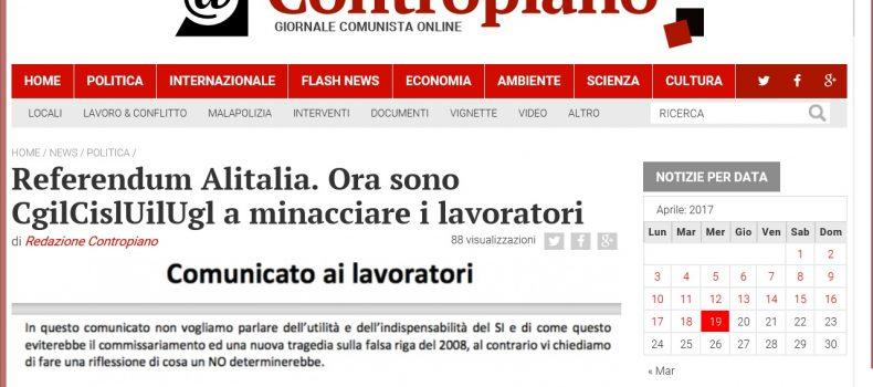 Referendum Alitalia. Ora sono CgilCislUilUgl a minacciare i lavoratori – Contropiano