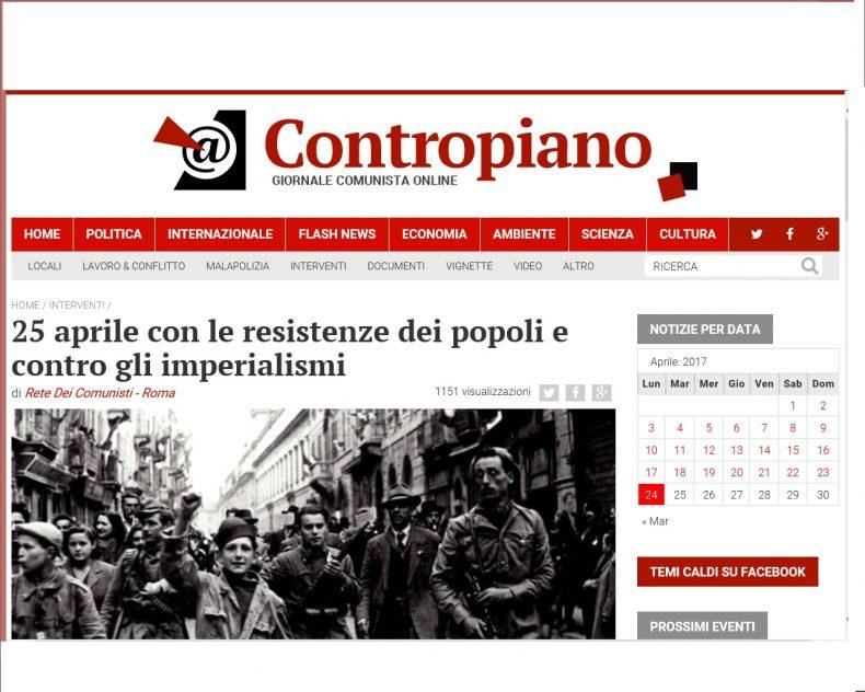 25 aprile con le resistenze dei popoli e contro gli imperialismi – Contropiano