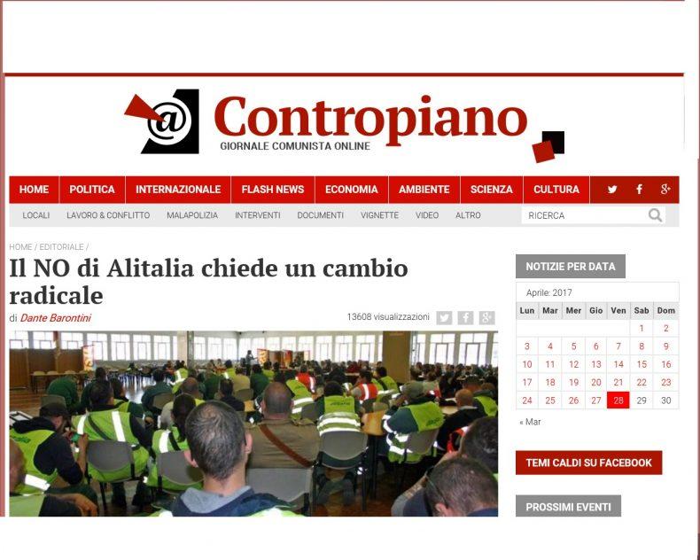 Il NO di Alitalia chiede un cambio radicale – L'editoriale di Contropiano