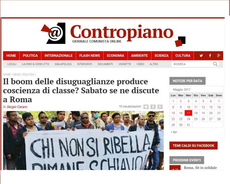 Il boom delle disuguaglianze produce coscienza di classe? Sabato se ne discute a Roma – Contropiano