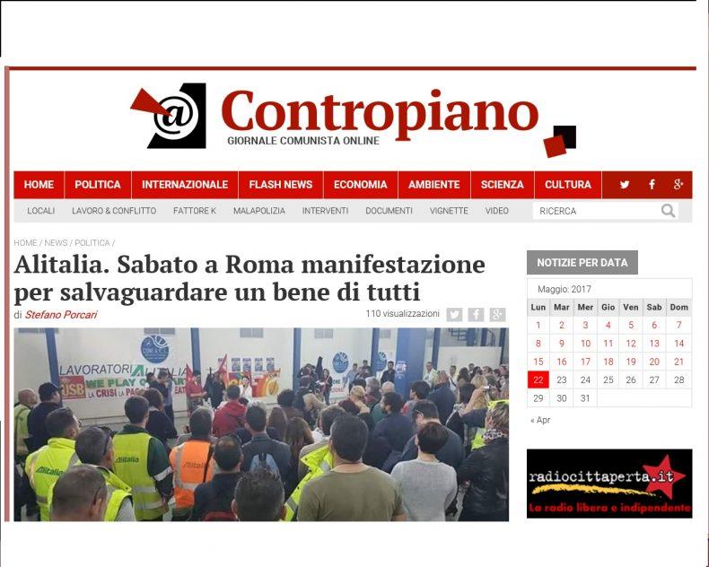 Alitalia. Sabato a Roma manifestazione per salvaguardare un bene di tutti – Contropiano