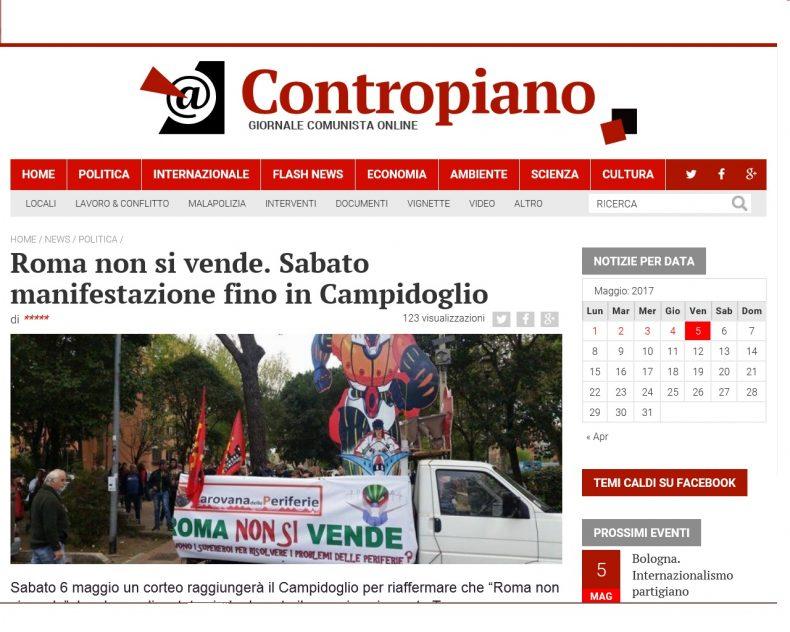 Roma non si vende. Sabato manifestazione fino in Campidoglio – Contropiano