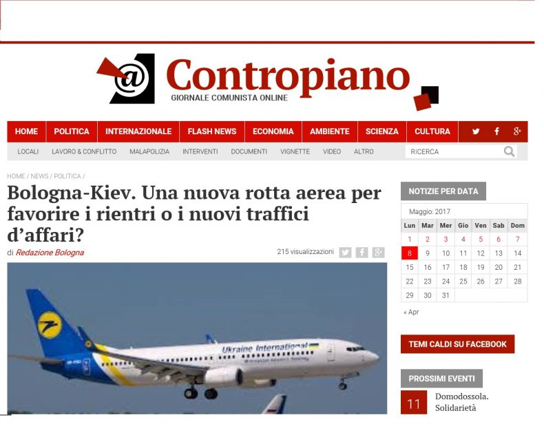 Bologna-Kiev. Una nuova rotta aerea per favorire i rientri o i nuovi traffici d'affari? – Contropiano