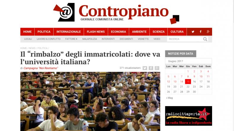 """Il """"rimbalzo"""" degli immatricolati: dove va l'università italiana? – Contropiano"""