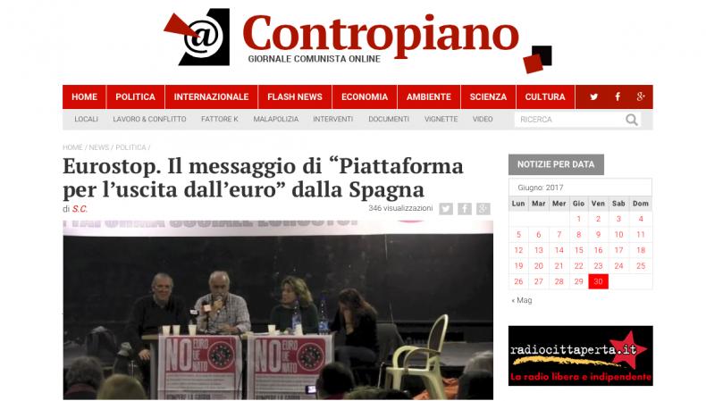 """Eurostop. Il messaggio di """"Piattaforma per l'uscita dall'euro"""" dalla Spagna – Contropiano"""