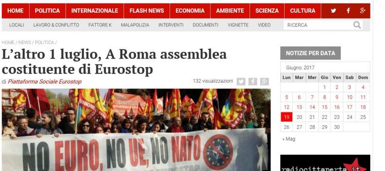 L'altro 1 luglio: a Roma assemblea costituente di Eurostop – Contropiano