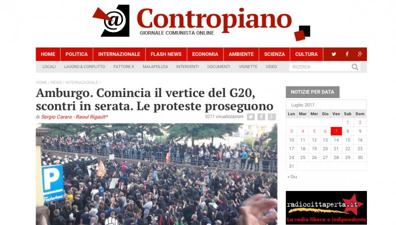Amburgo. Comincia il vertice del G20, scontri in serata. Le proteste proseguono – Contropiano