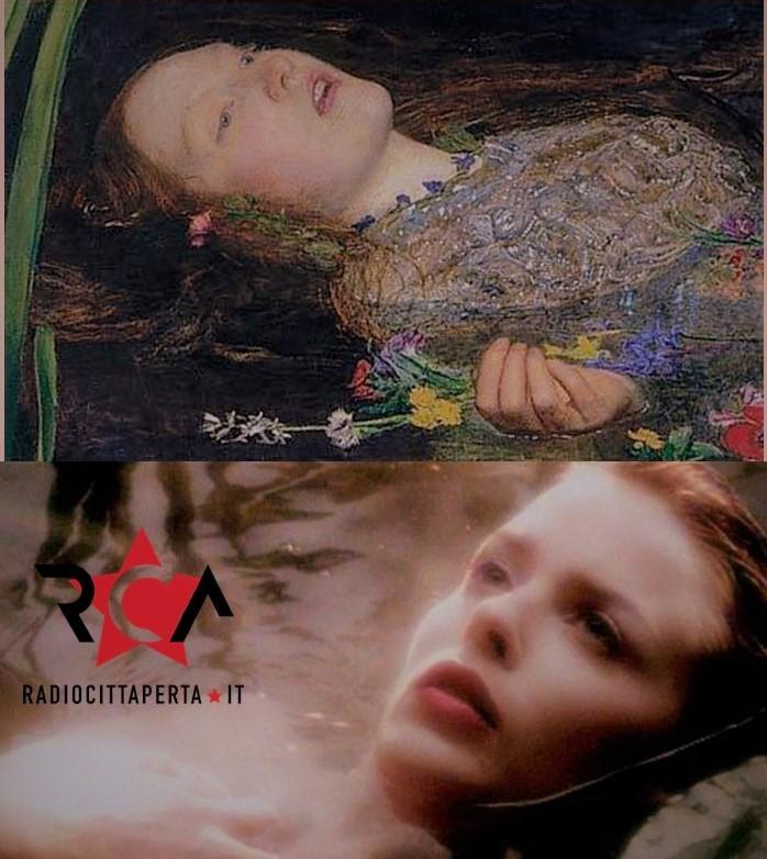 Ophelia, olio su tela di Millais, e il videoclip Where The Wild Roses Grow di Nick Cave e Kylie Minogue